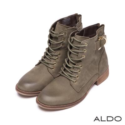 ALDO-真皮交叉編織金屬釦帶木紋粗跟短靴-墨綠