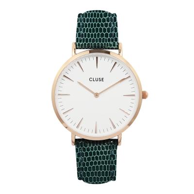 CLUSE-波西米亞玫瑰金系列-白錶盤-墨綠壓紋皮