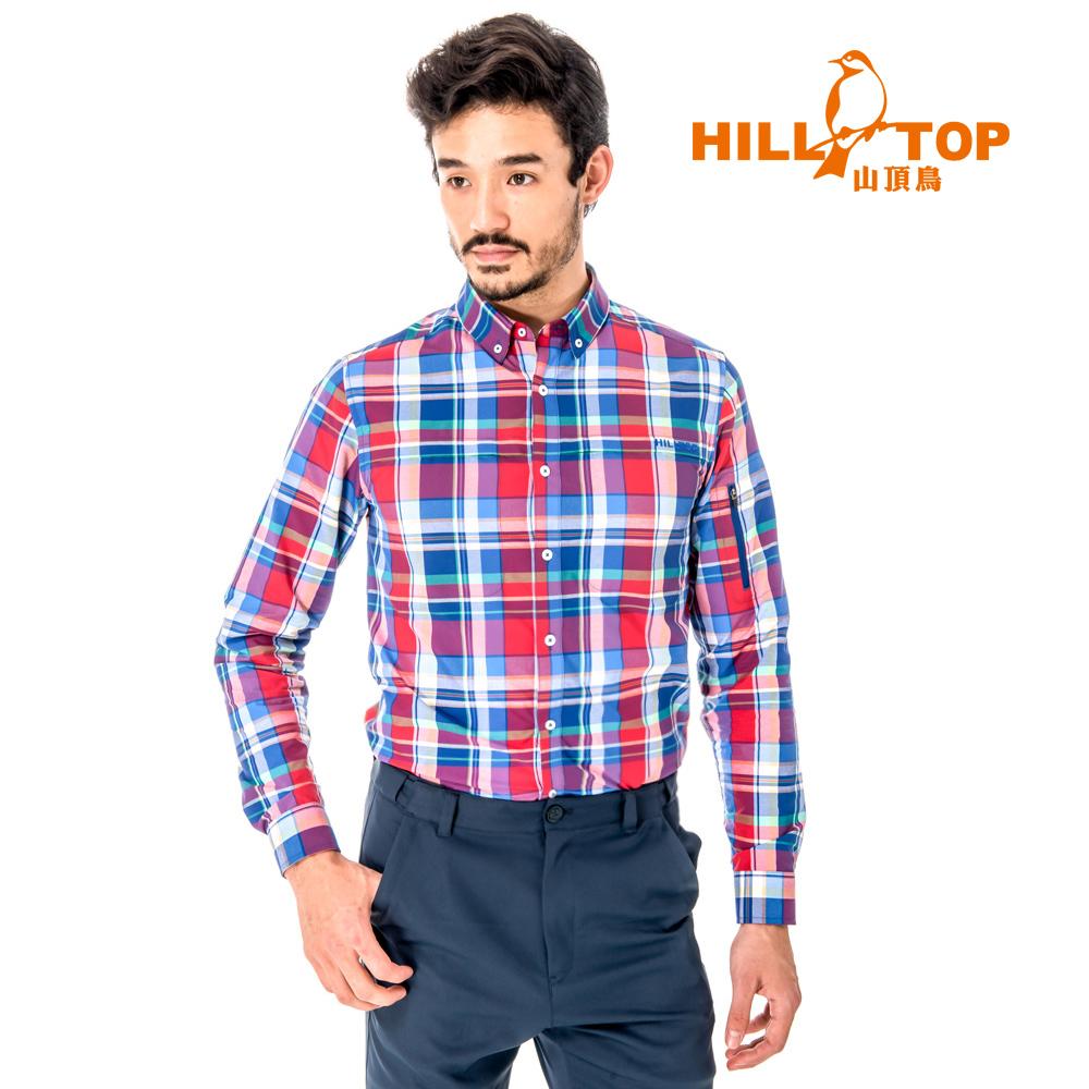 【hilltop山頂鳥】男款吸濕排汗抗UV長襯衫S05M64-紅格子