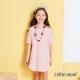 Little moni 自然系女孩五分袖洋裝  粉橙 product thumbnail 1