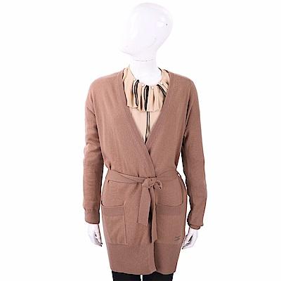 ELISABETTA FRANCHI 喀什米爾水鑽細節棕褐色綁帶針織羊毛罩衫