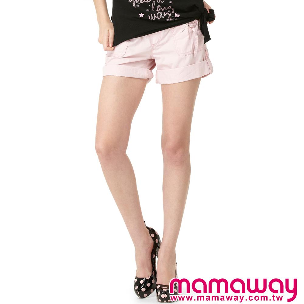 【Mamaway】孕婦休閒水洗短褲 (共三色)
