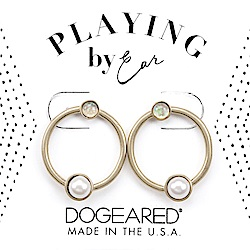 Dogeared 珍珠耳環 X 月光石耳環 銀色圈圈耳環 細緻百搭