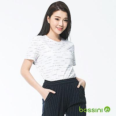 bossini女裝-印花圓領短袖上衣03白