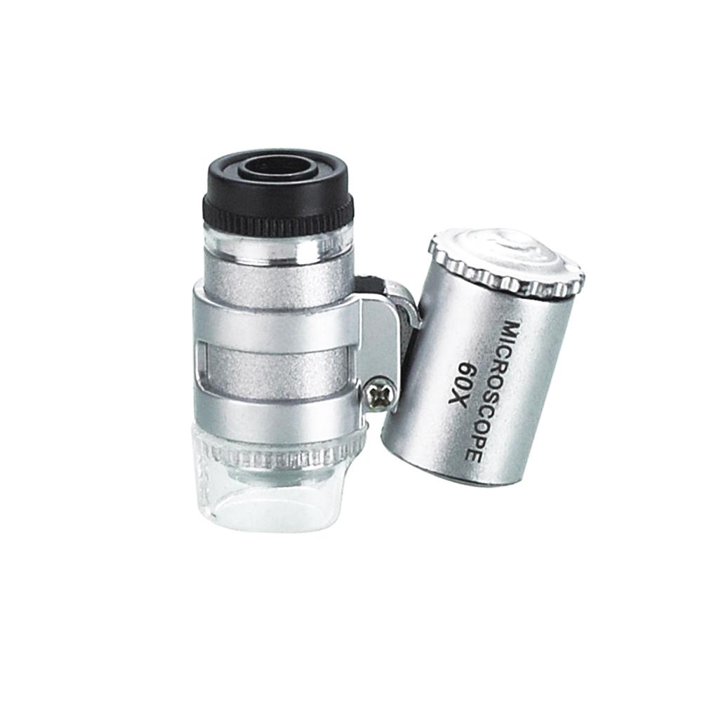 兩用式60X手機顯微鏡頭 LED輔助燈+紫光驗鈔燈