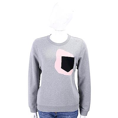 TORY BURCH Carly 撞色幾何口袋設計灰色棉質運動衫