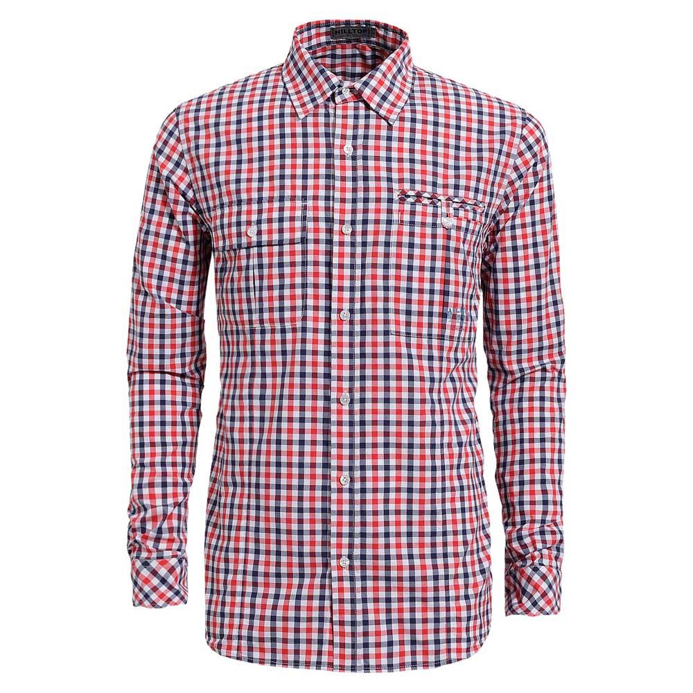 【hilltop山頂鳥】男款吸濕快乾長袖襯衫S05M51-紅/深藍格子