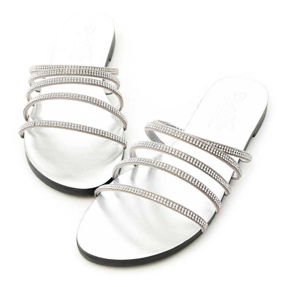 D+AF 光感魅力.五條水鑽細帶平底涼拖鞋*銀