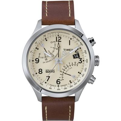 TIMEX 智慧指針IQ飛返計時逆跳系列手錶-米x咖啡/42mm