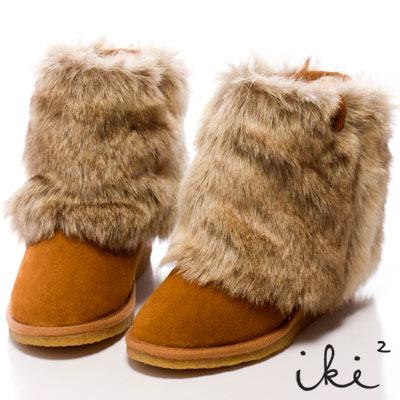 iki2雪國精靈-2Way暖呼呼楔型舞台雪靴-中咖