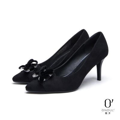達芙妮x高圓圓 圓漾系列 高跟鞋-水鑽蝴蝶結尖頭鞋-黑