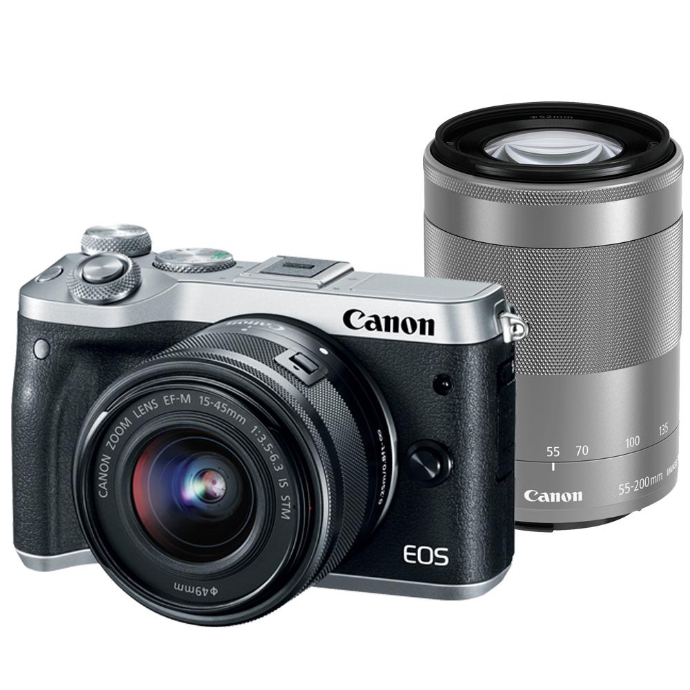 CANON EOS M6+15-45mm+55-200mm 雙鏡組*(平輸中文)-銀色