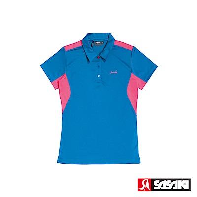 SASAKI 長效性吸濕排汗功能網球短衫-女-義大利藍/艷桃紅