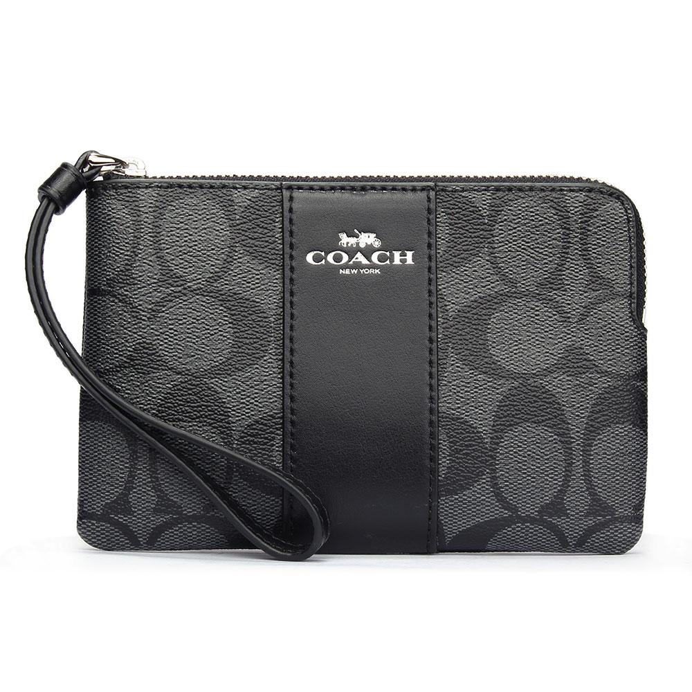 COACH 馬車LOGO PVC防水直條皮革L型拉鍊手拿包-黑灰色