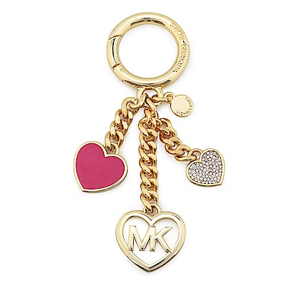 MICHAEL KORS Heart 愛心亮鑽鑰匙圈-桃紅