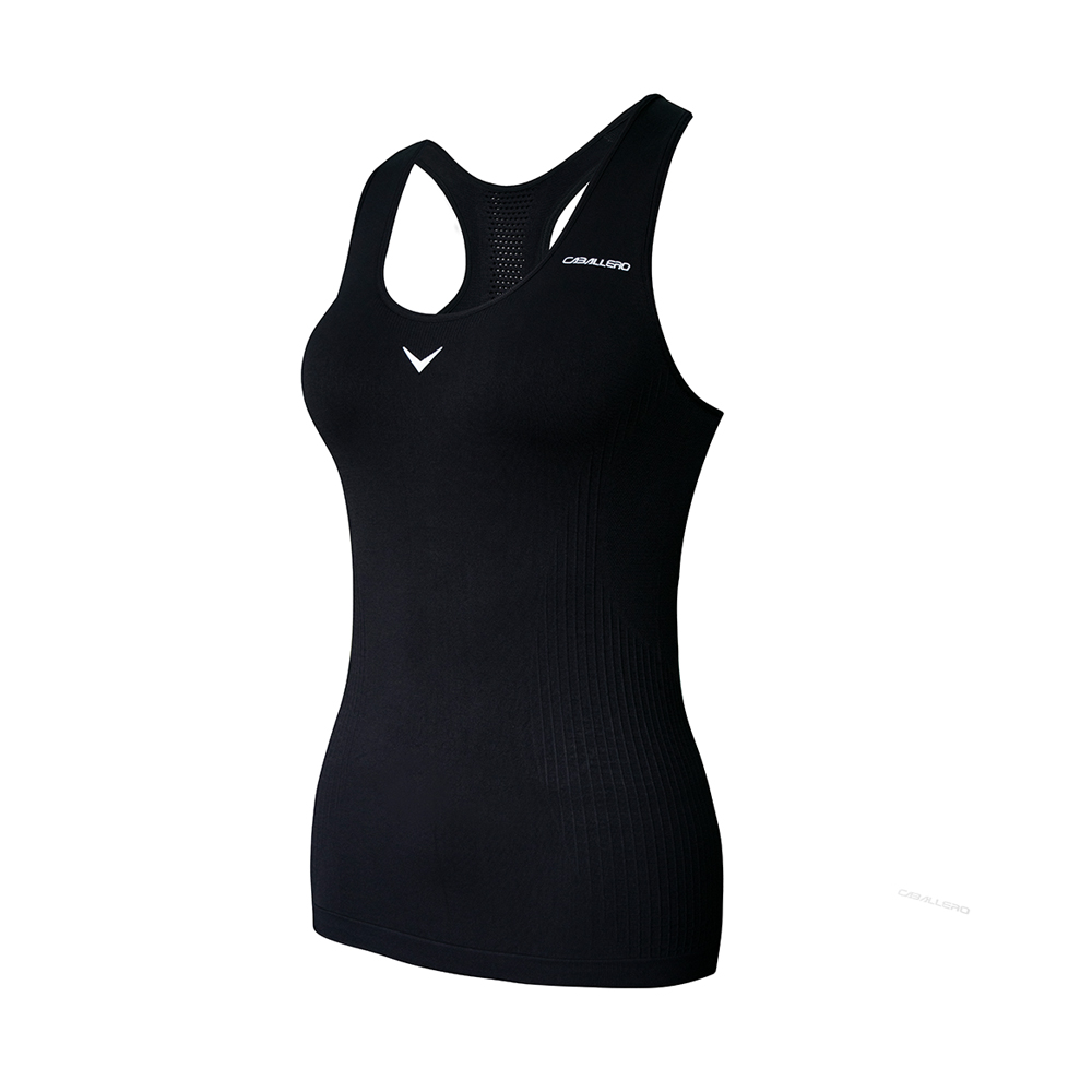 CABALLERO-女性壓縮跑步運動內衣-長版黑