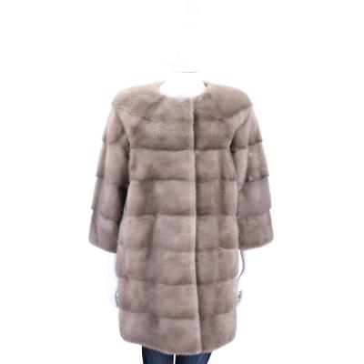 GRANDI furs 灰駝色七分袖皮草大衣