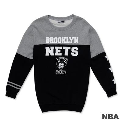 NBA-布魯克林籃網隊撞色印花圓領長版T恤-黑色