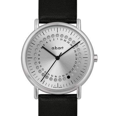 a.b.art KLD系列 日期圓盤跳點復刻紀念腕錶-銀/38mm