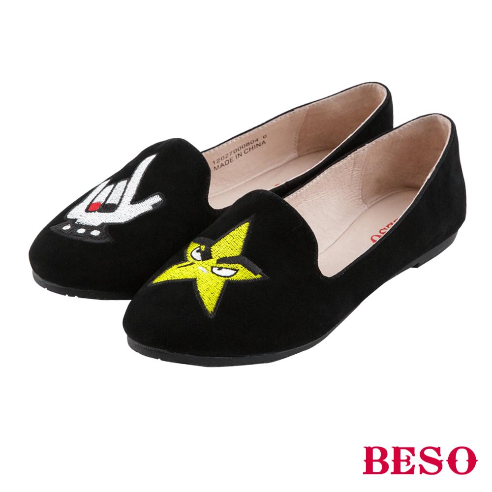 BESO 俏皮童趣 不對襯電繡輕量全真皮樂福鞋~黑