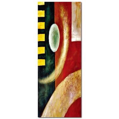 橙品油畫布 - 單聯抽象風無框藝術掛畫 - 似圓非圓30x80cm