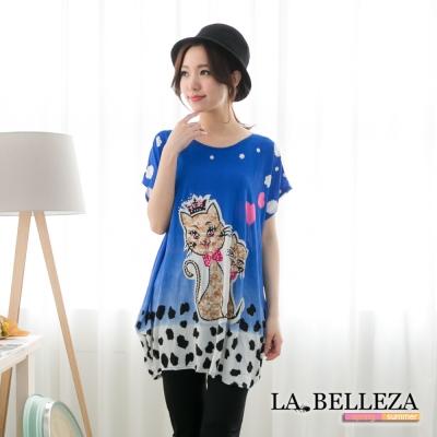 La Belleza二隻貓咪水鑽側抓皺長版上衣