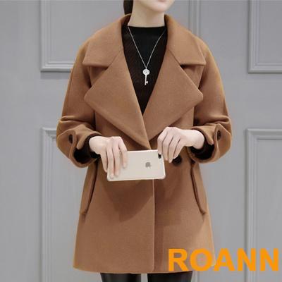 純色大翻領九分袖短款毛呢外套 (共二色)-ROANN