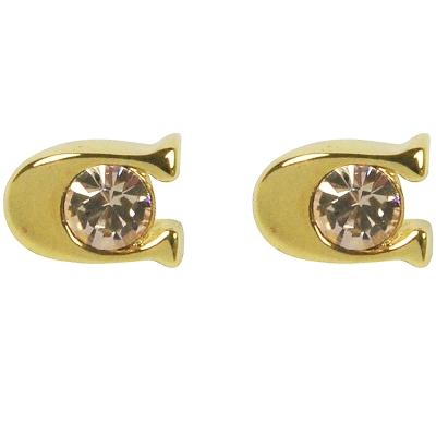 COACH-C-LOGO鑲鑽耳環-金