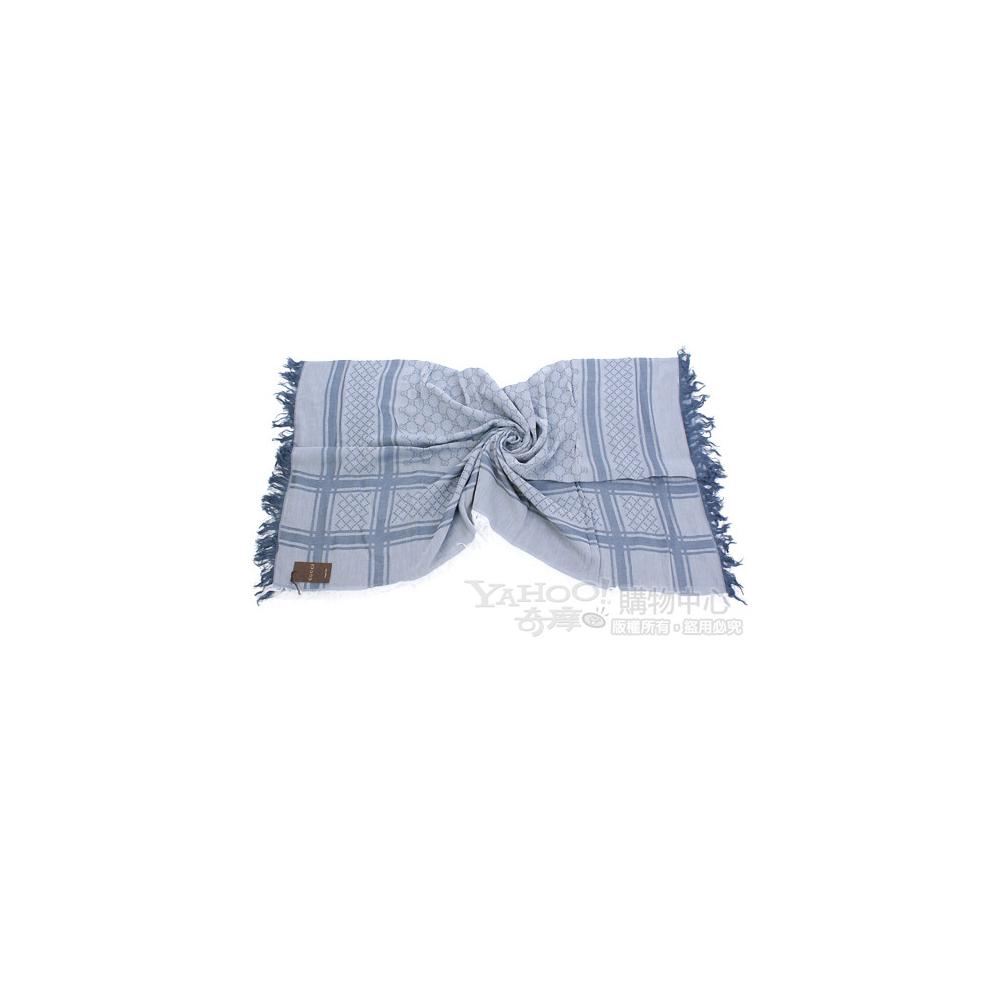 GUCCI 雙G織紋綴飾格紋圍巾(藍色)