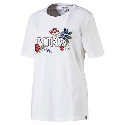 PUMA-女性流行系列花蕊風短袖T恤-白色-亞規