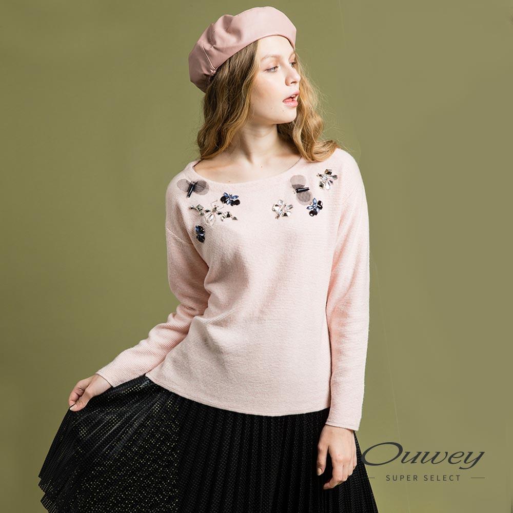 OUWEY歐薇 時尚粉嫩針織上衣(粉)