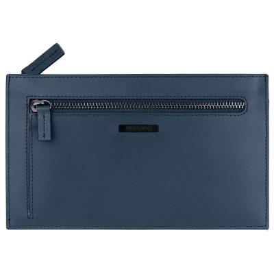 MONDAINE 瑞士國鐵牛皮雙拉鏈收納包-藍