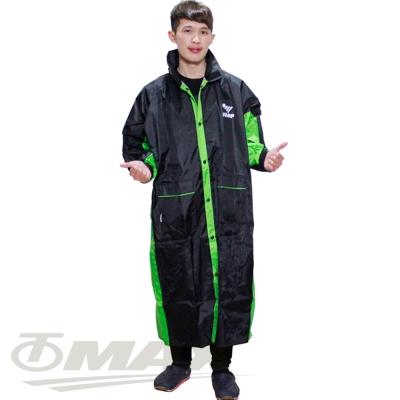 JUMP新二代新帥前開式休閒風雨衣-綠黑+通用鞋套