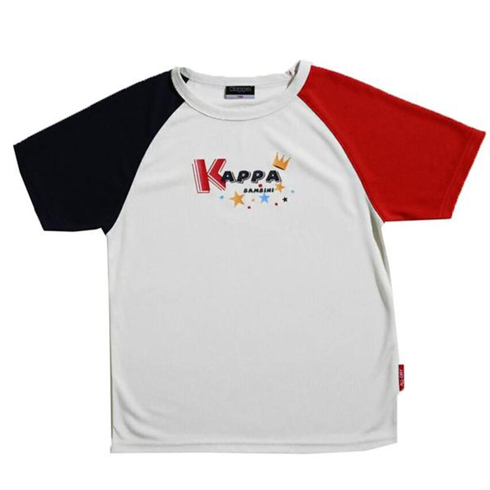 KAPPA義大利小朋友吸濕排汗速乾彩色圓領衫 白 丈青紅