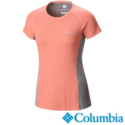 【Columbia哥倫比亞】女-酷涼快排防曬30短袖上衣-橘紅 UAL65800AH