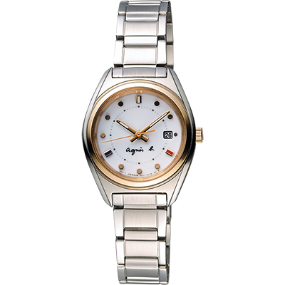 agnes b. Solar 驚豔巴黎太陽能時尚女錶-銀x玫瑰金框/28mm