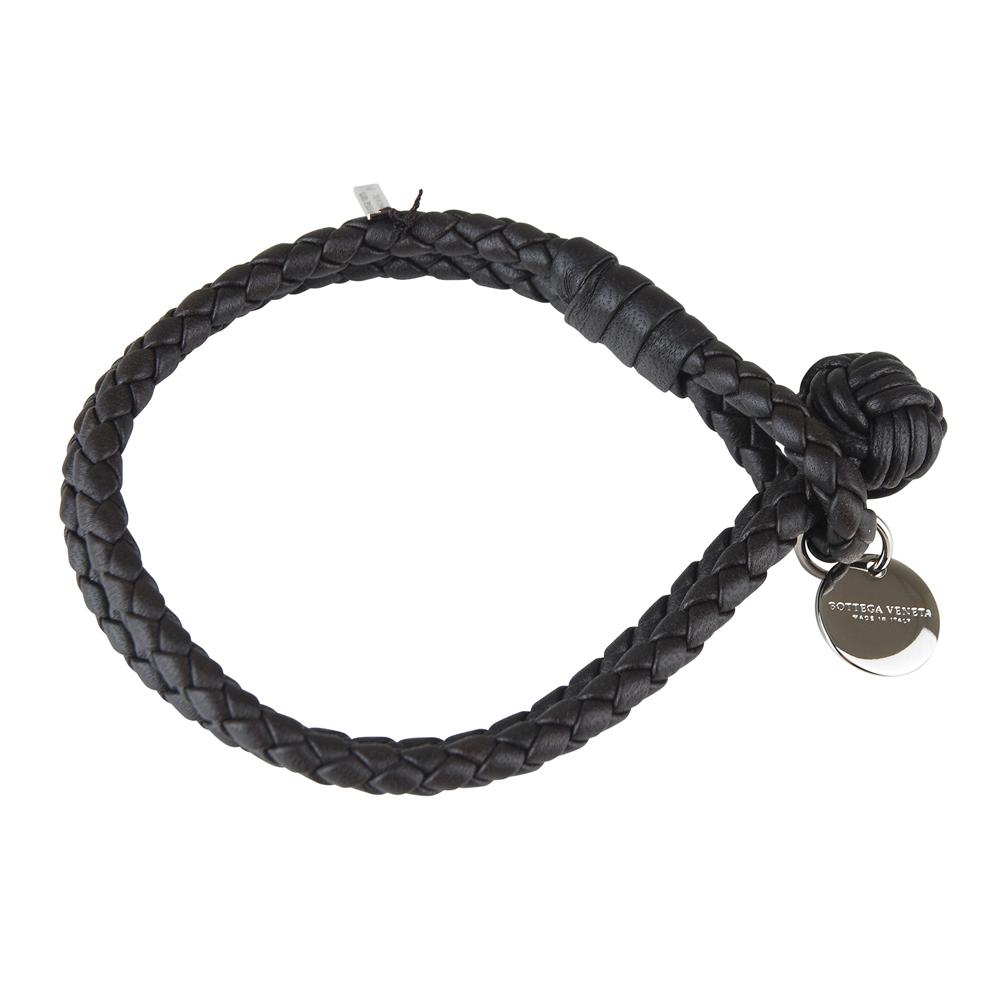 BV BOTTEGA VENETA 經典純手工編織雙環細嫩小羊皮手環(深咖啡)