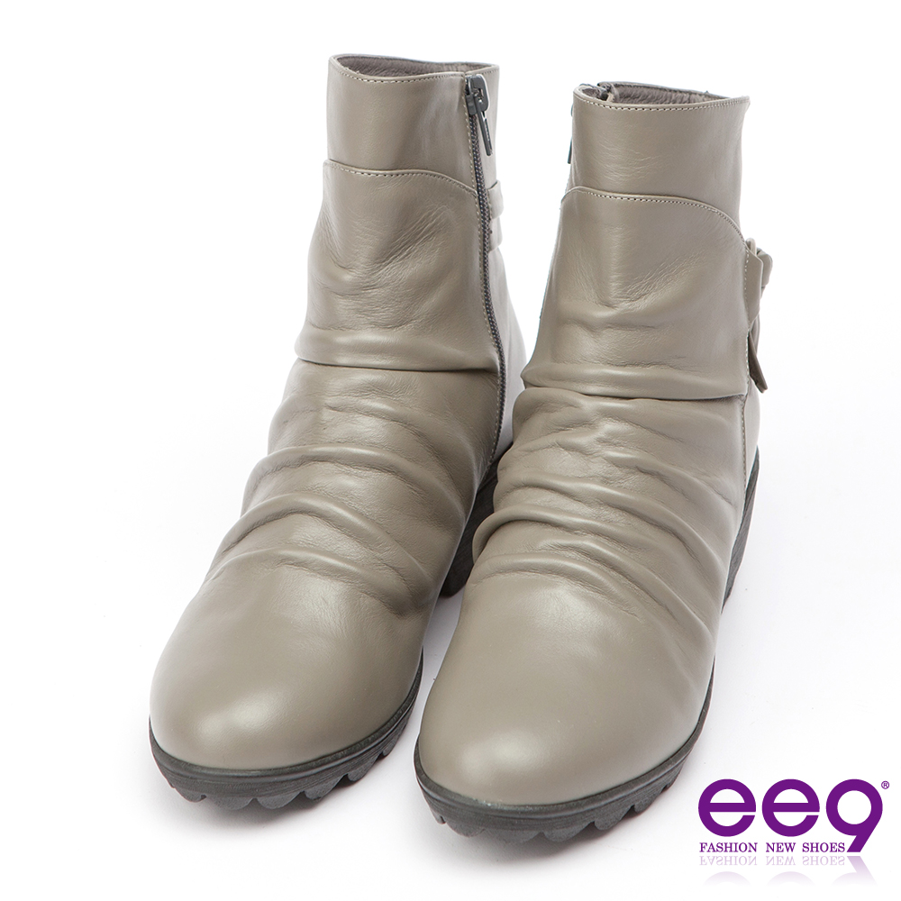 ee9 MIT經典手工~率性風格自然抓皺晶鑽飾扣粗跟百搭短筒靴-灰色