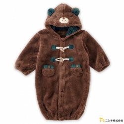 Nishiki 日本株式會社 咖啡色熊熊造型連帽長袖連身衣