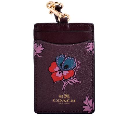 COACH 燙銀LOGO花卉圖騰防刮皮革掛式證件票卡夾-紫紅COACH