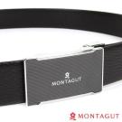 MONTAGUT夢特嬌-經典方框壓邊黑底點紋Logo款-頭層牛皮自動扣皮帶-757