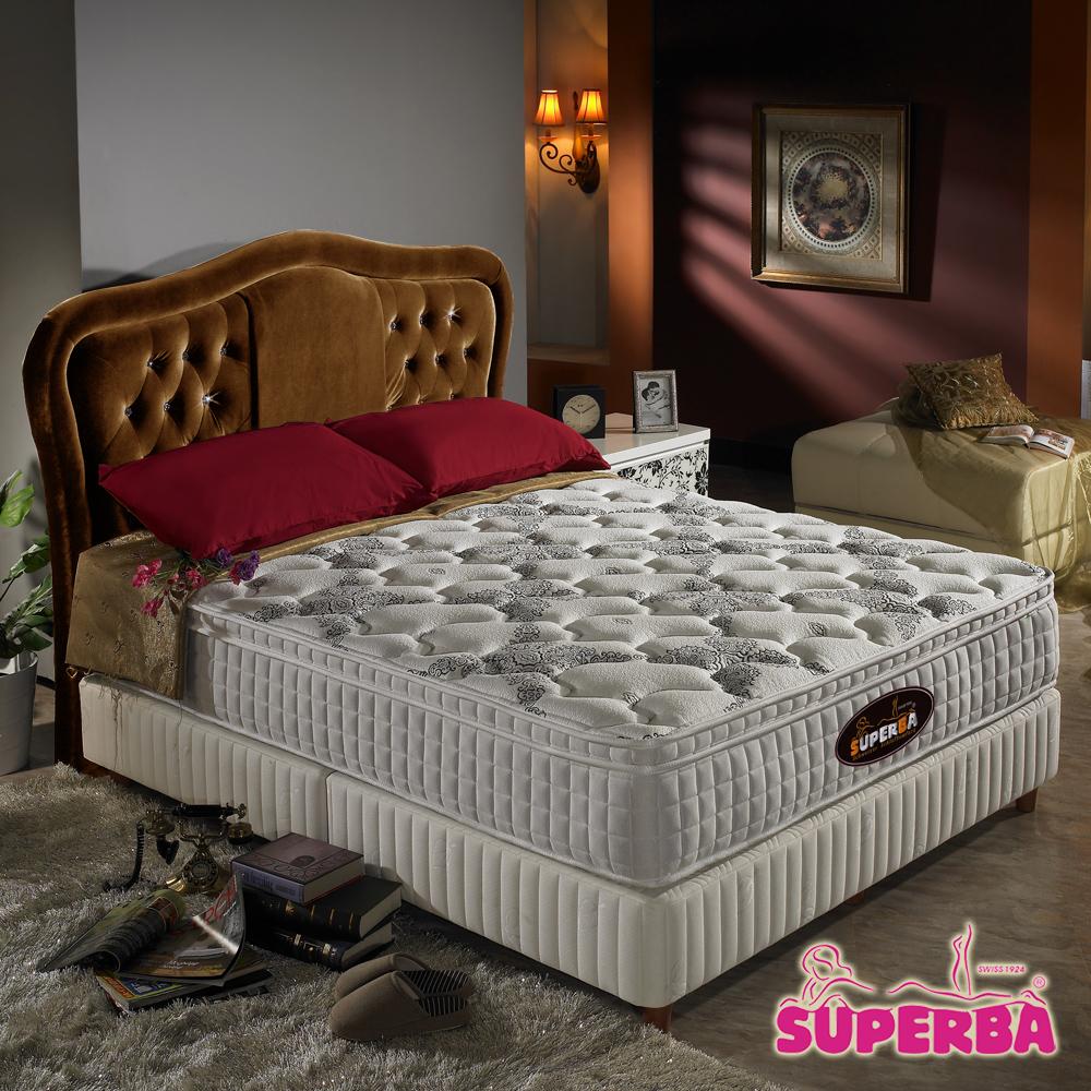 瑞士SUPERBA-Rhone三線加高硬式獨立筒床墊-雙人加大6尺