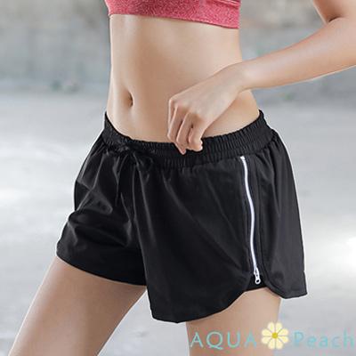 運動褲 側開拉鍊邊條運動短褲 (黑色)-AQUA Peach