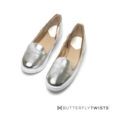 BUTTERFLY TWISTS-漆亮鞋面記憶軟墊平底鞋-閃耀銀