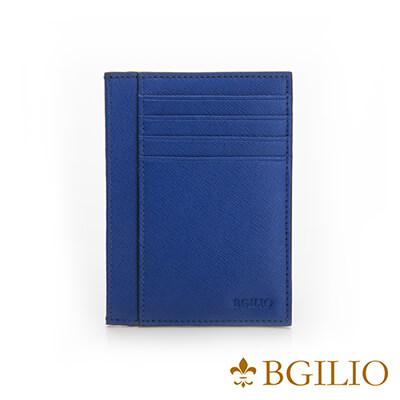 義大利BGilio-都會十字紋牛皮輕薄卡片夾-藍色-2299.310-09