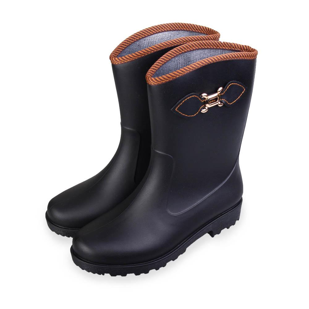 TTSNAP雨靴-經典側釦舒適俐落中筒防水靴 黑