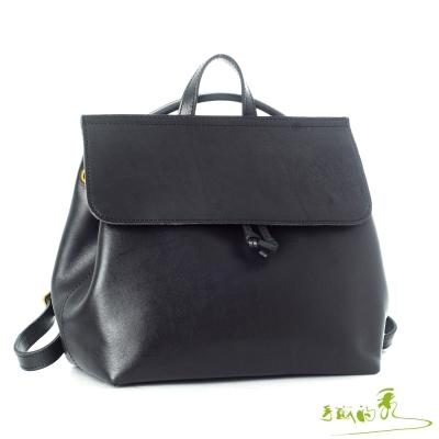 手感的秀 頂級植鞣革京都寧和風三用後背包(時髦黑)