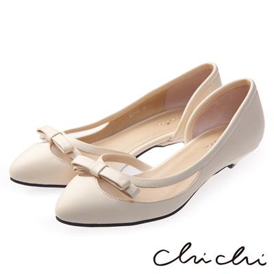 Chichi甜美主導 蝴蝶結透膚低跟鞋*米色