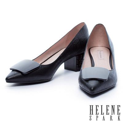 高跟鞋-HELENE-SPARK-烤漆立體造型粗跟格紋牛皮造尖頭高跟鞋-黑