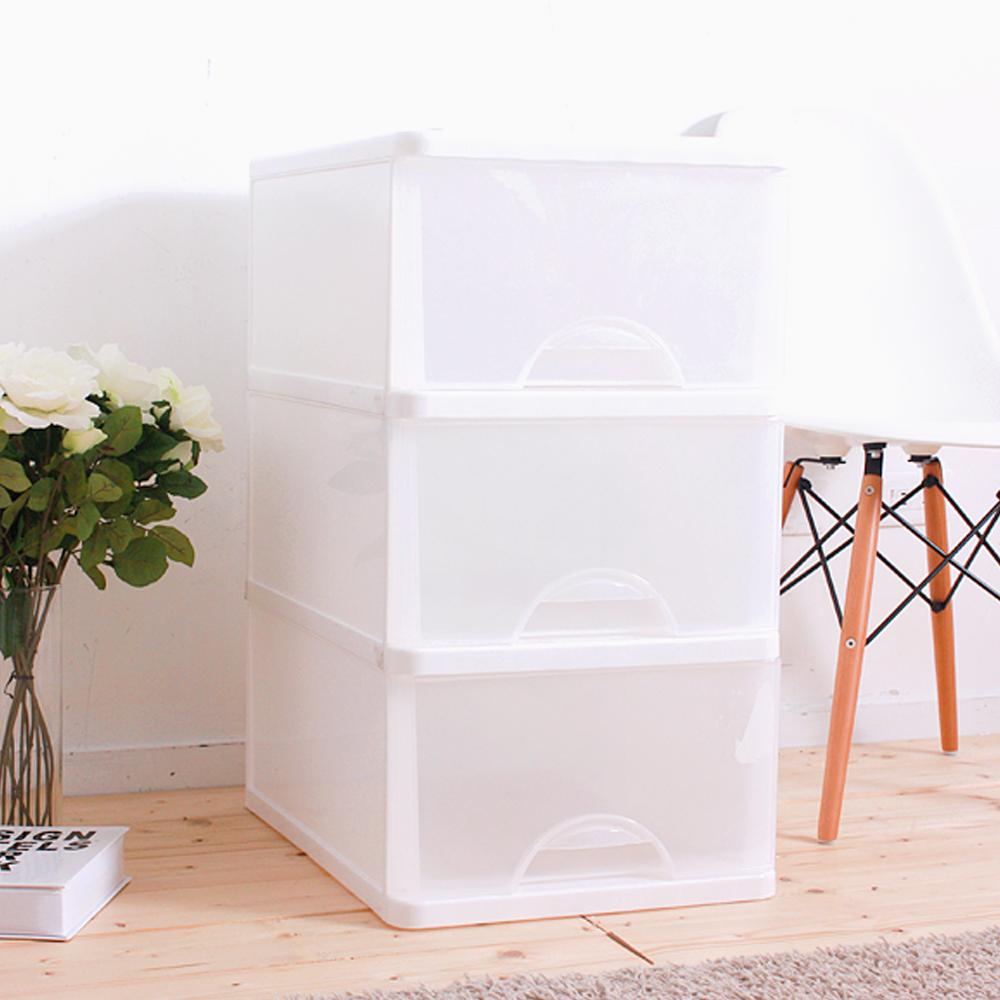 HOUSE 台灣製 大純白三層收納櫃附輪99L